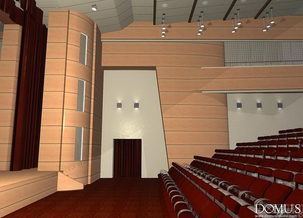 Interior design of auditorium view from the aisle